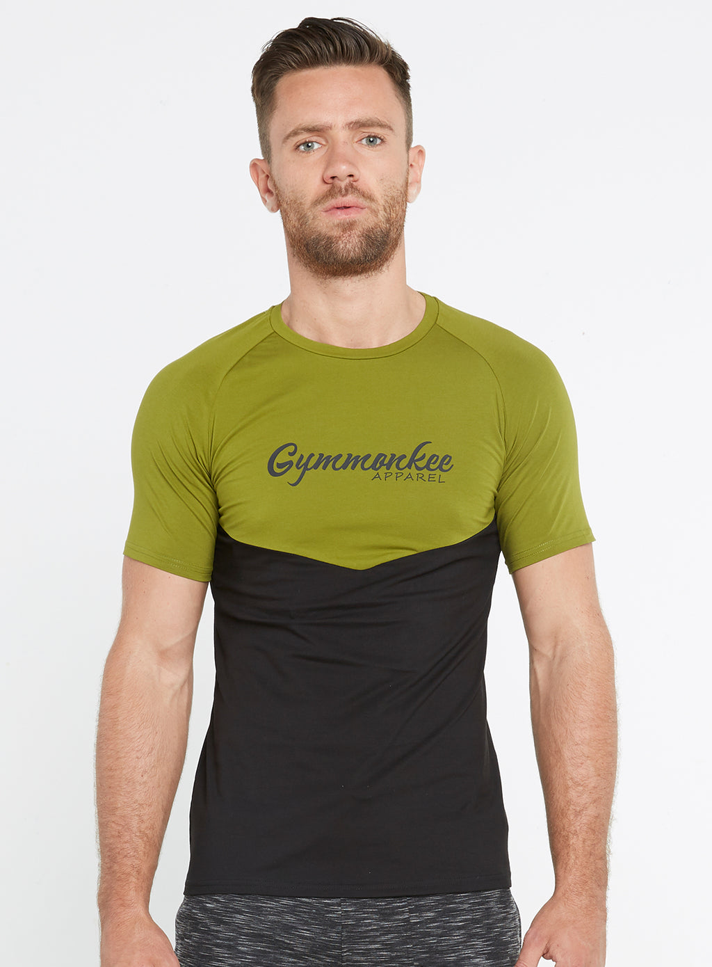 Gym Monkee - Black and Khaki Tee FRONT