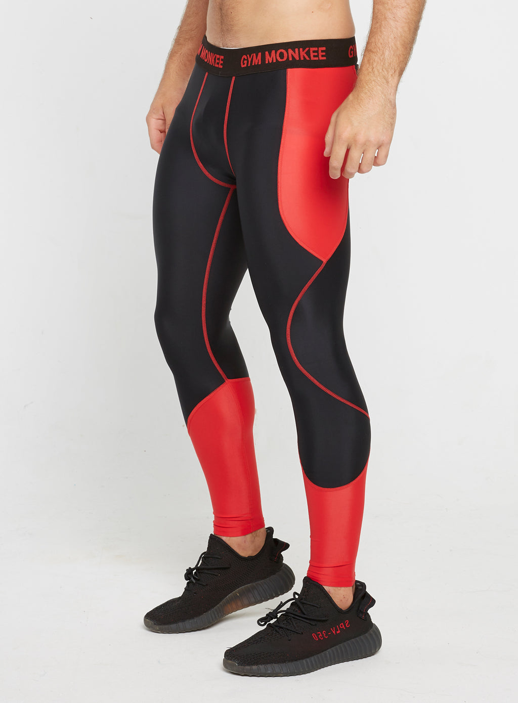 Gym Monkee - Black and Red Leggings LEFT