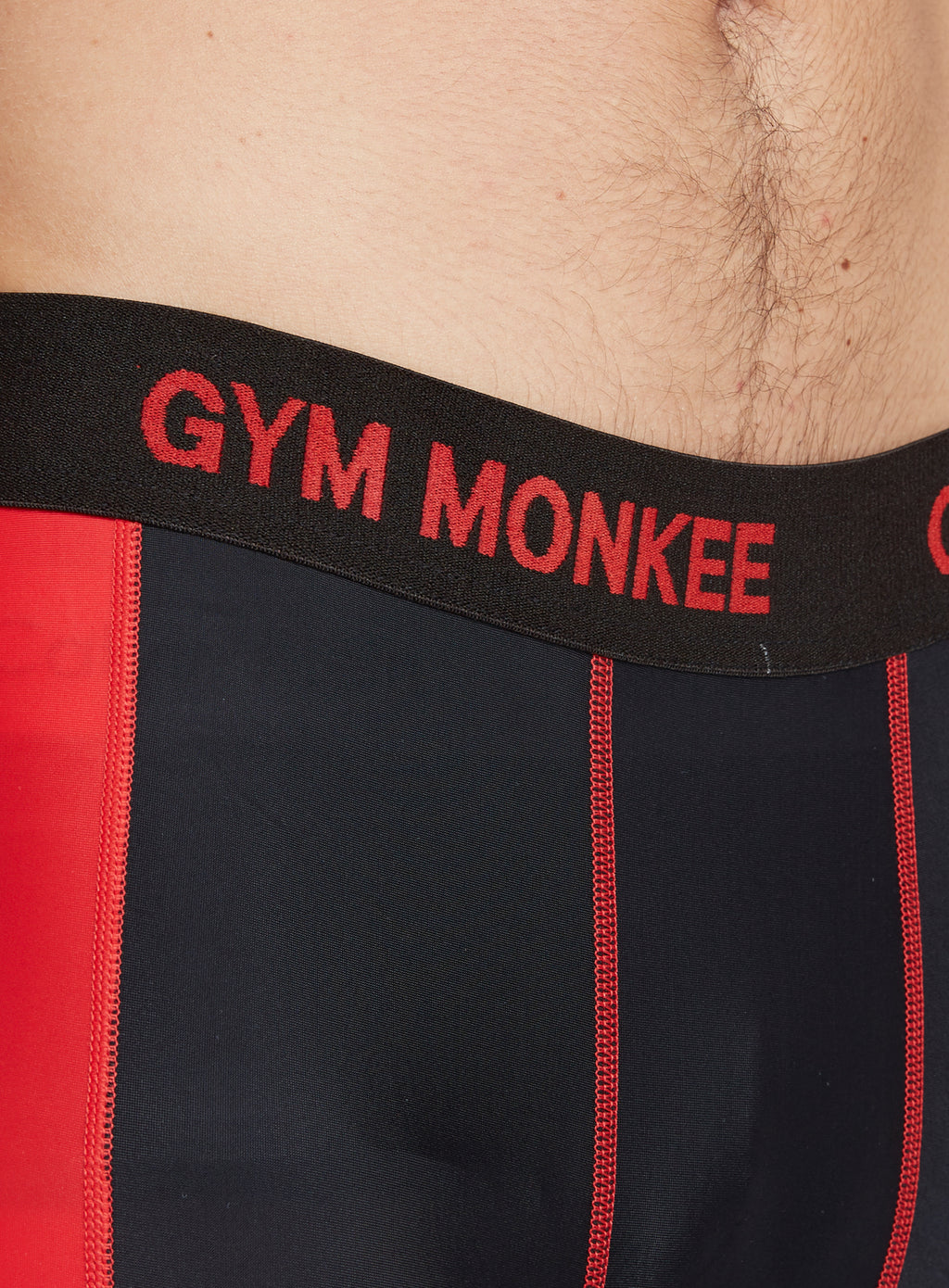 Gym Monkee - Black and Red Leggings WAISTBAND