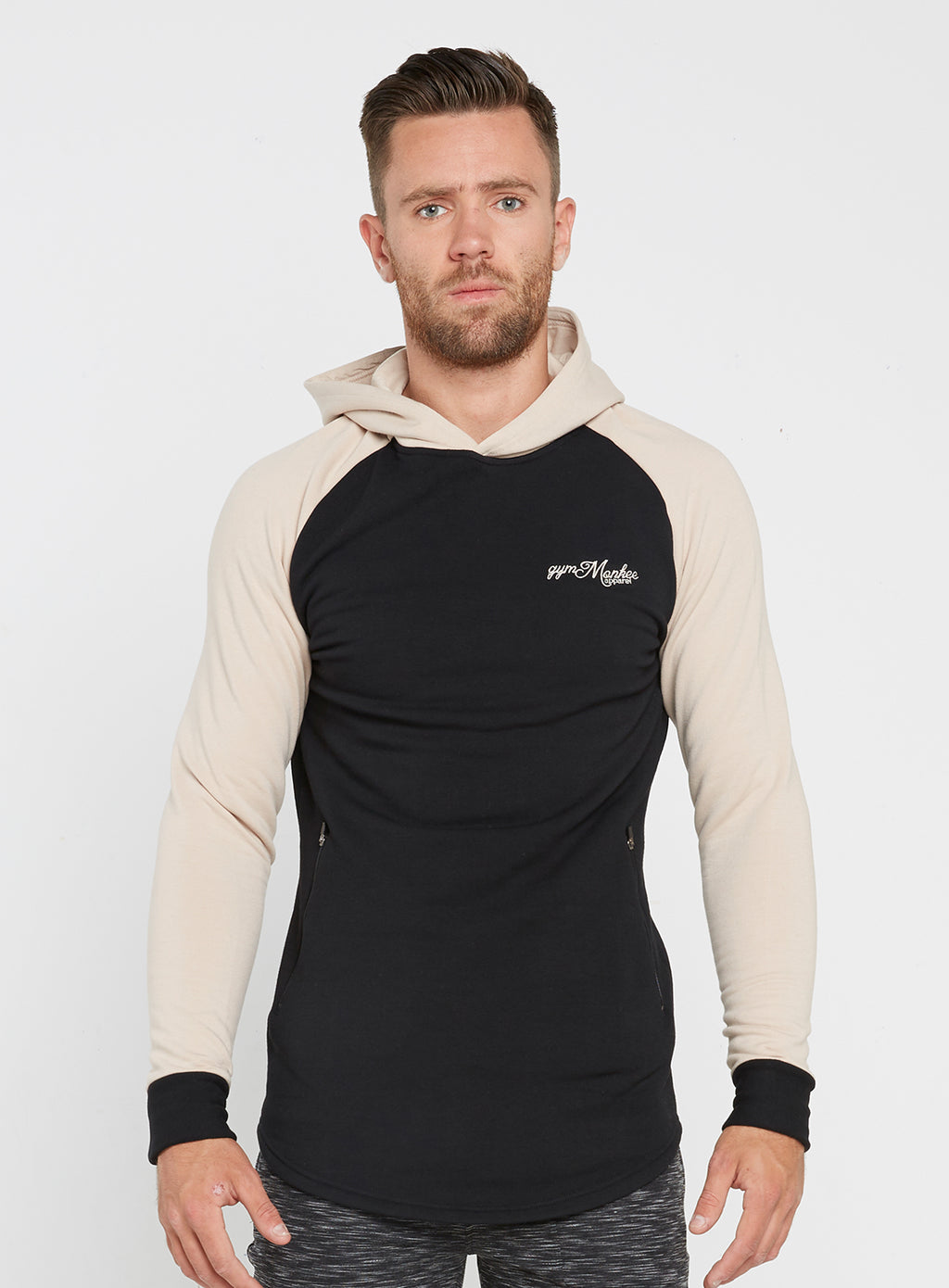 Gym Monkee - Black and Sand Hoodie FRONT