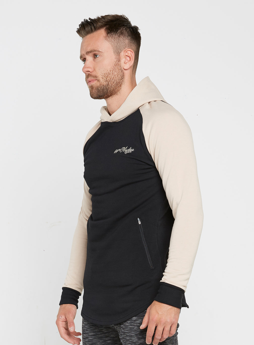 Gym Monkee - Black and Sand Hoodie LEFT