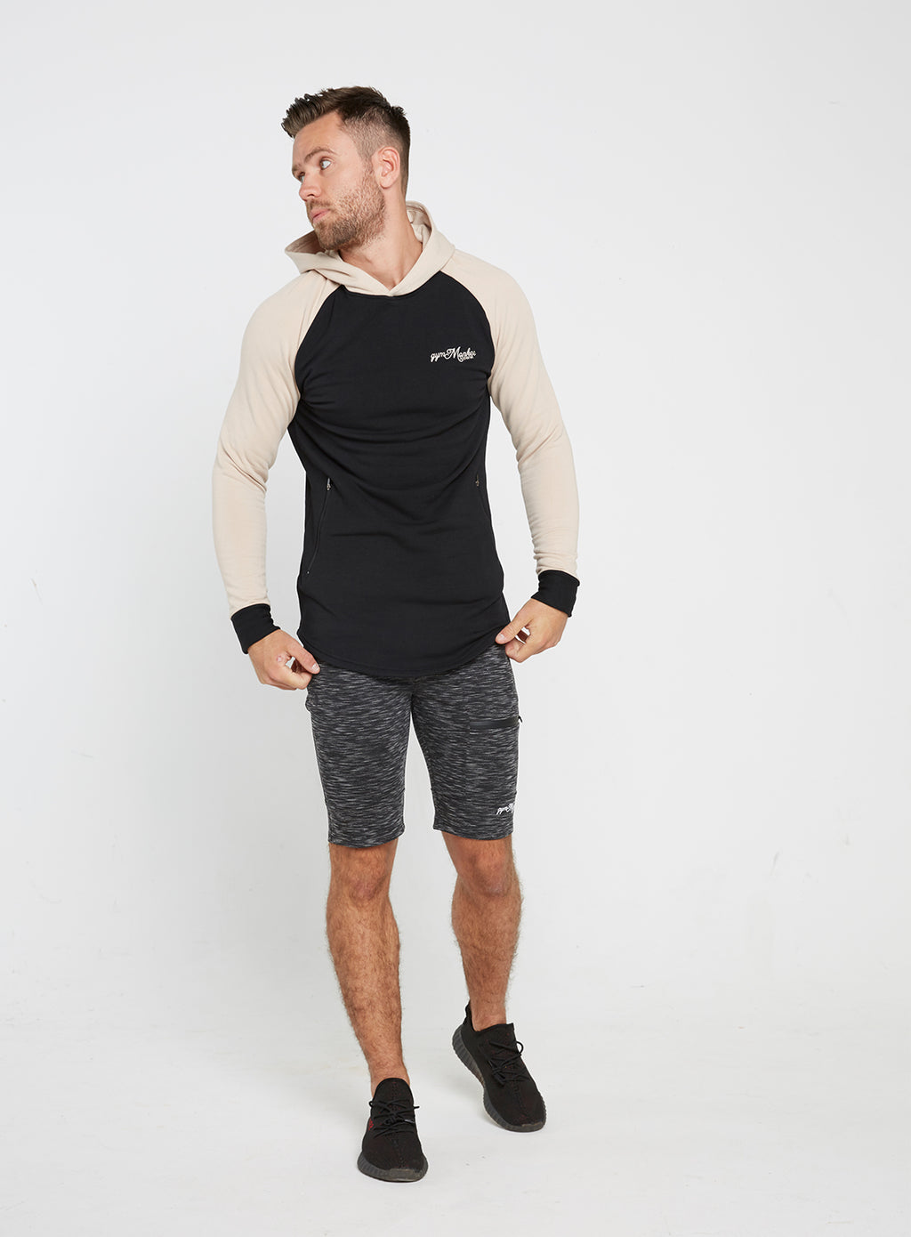 Gym Monkee - Black and Sand Hoodie FRONT FULL