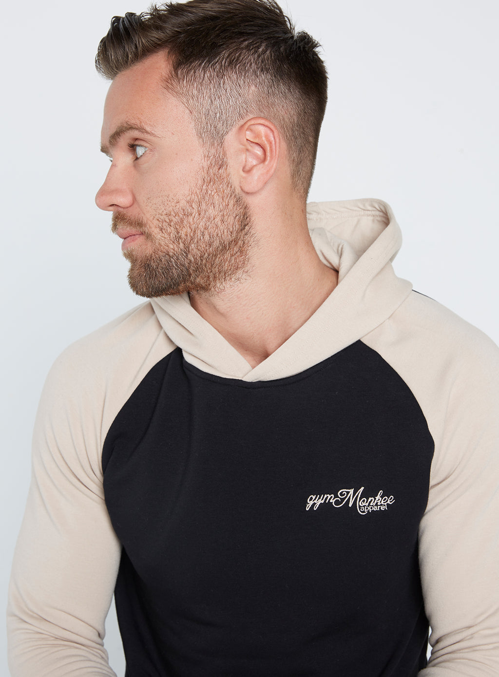 Gym Monkee - Black and Sand Hoodie CHEST