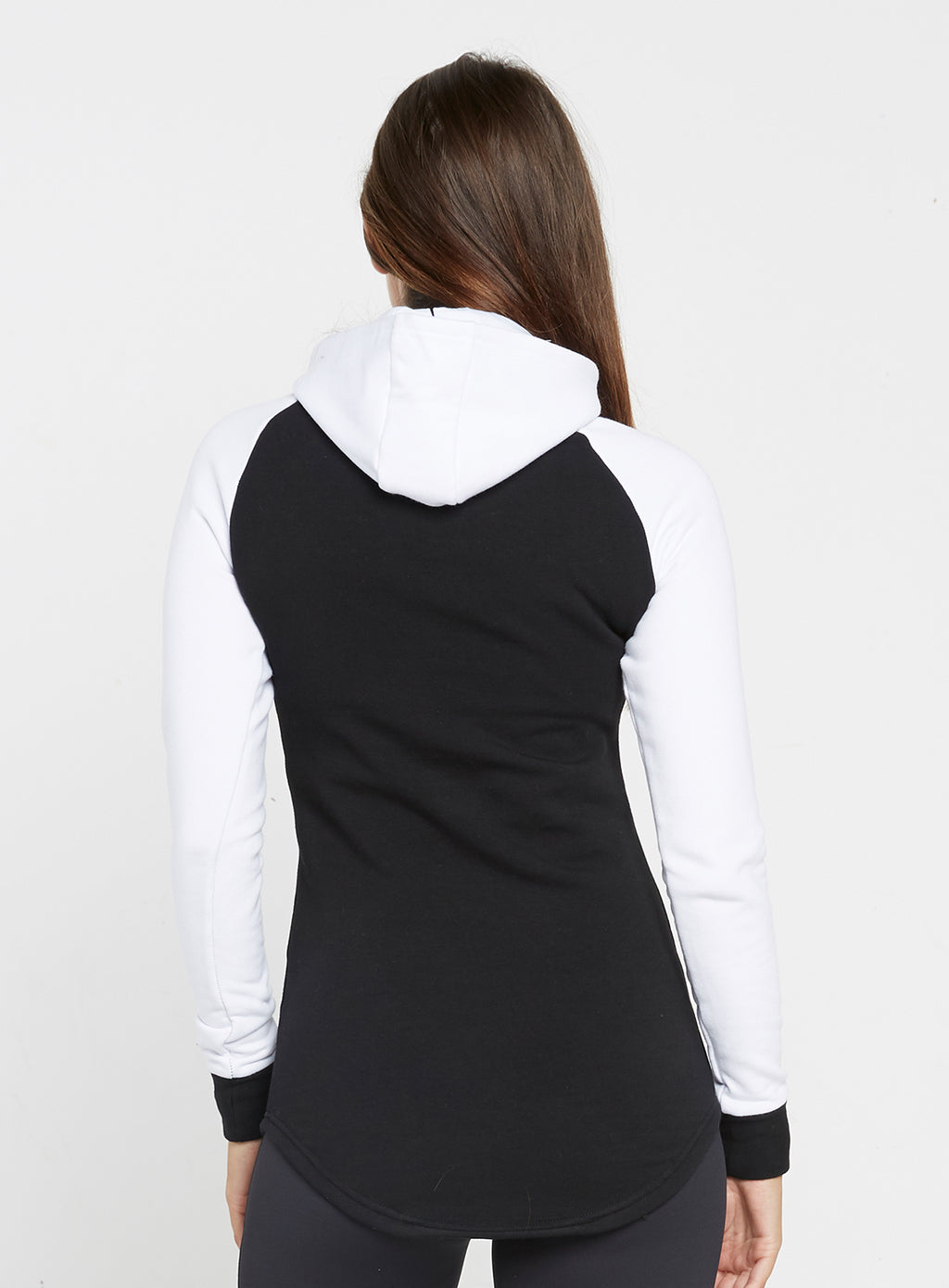 Gym Monkee - Ladies Black and White Hoodie REAR