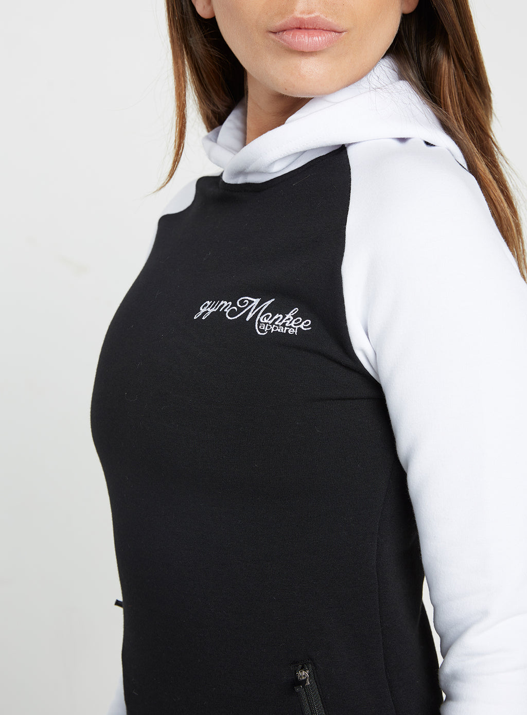 Gym Monkee - Ladies Black and White Hoodie FRONT LOGO