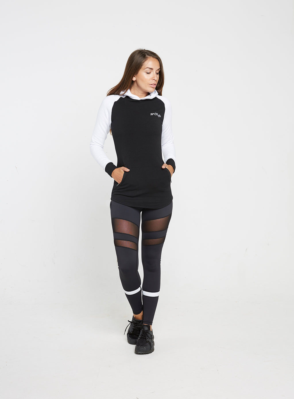 Gym Monkee - Ladies Black and White Hoodie FRONT FULL