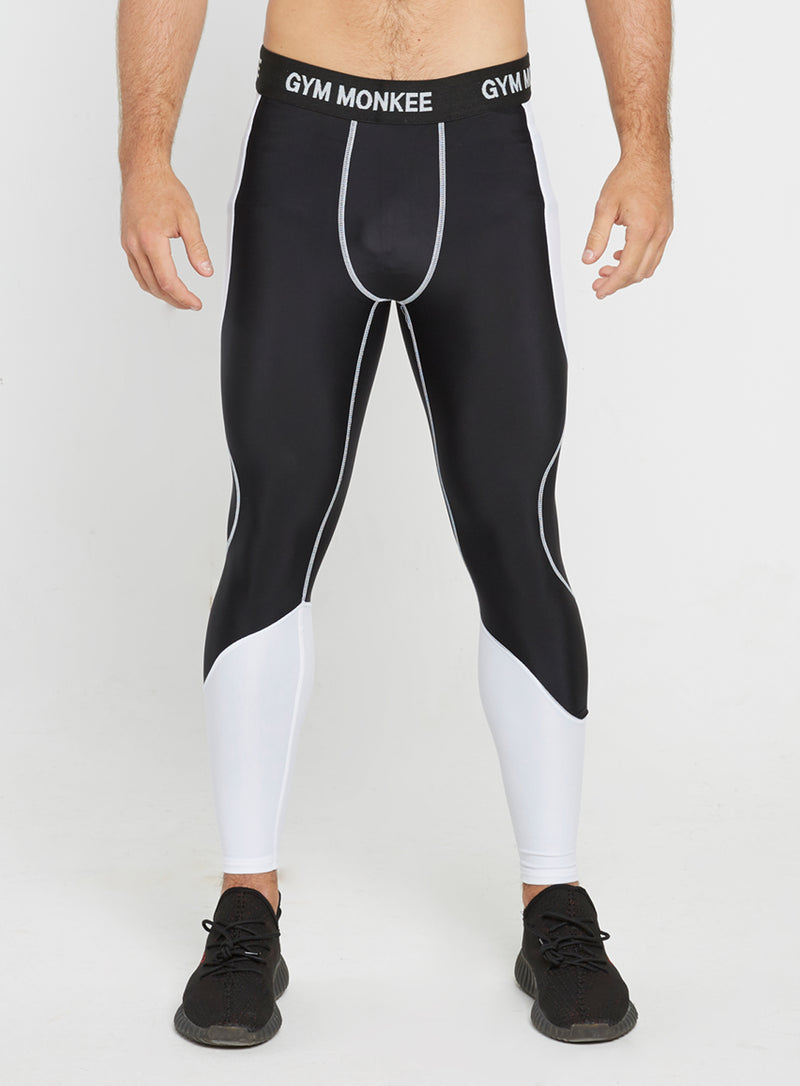 Gym Monkee - Black and White Leggings FRONT