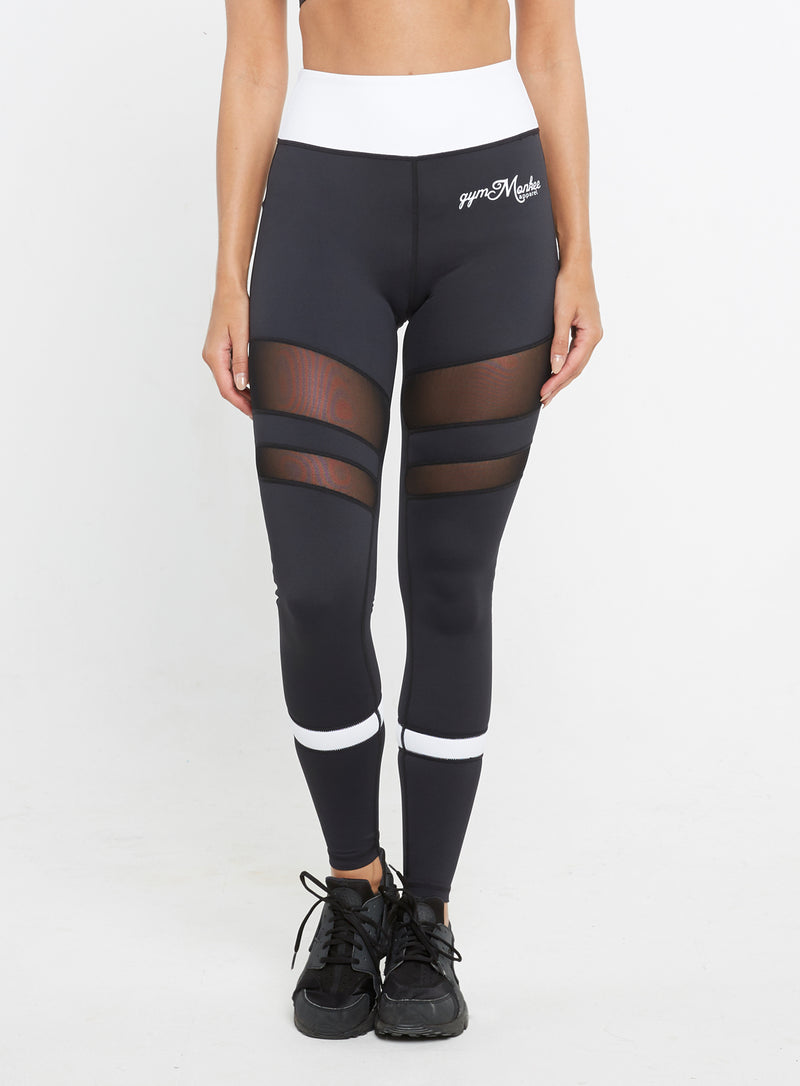 Gym  Monkee - Ladies Black and White Leggings FRONT