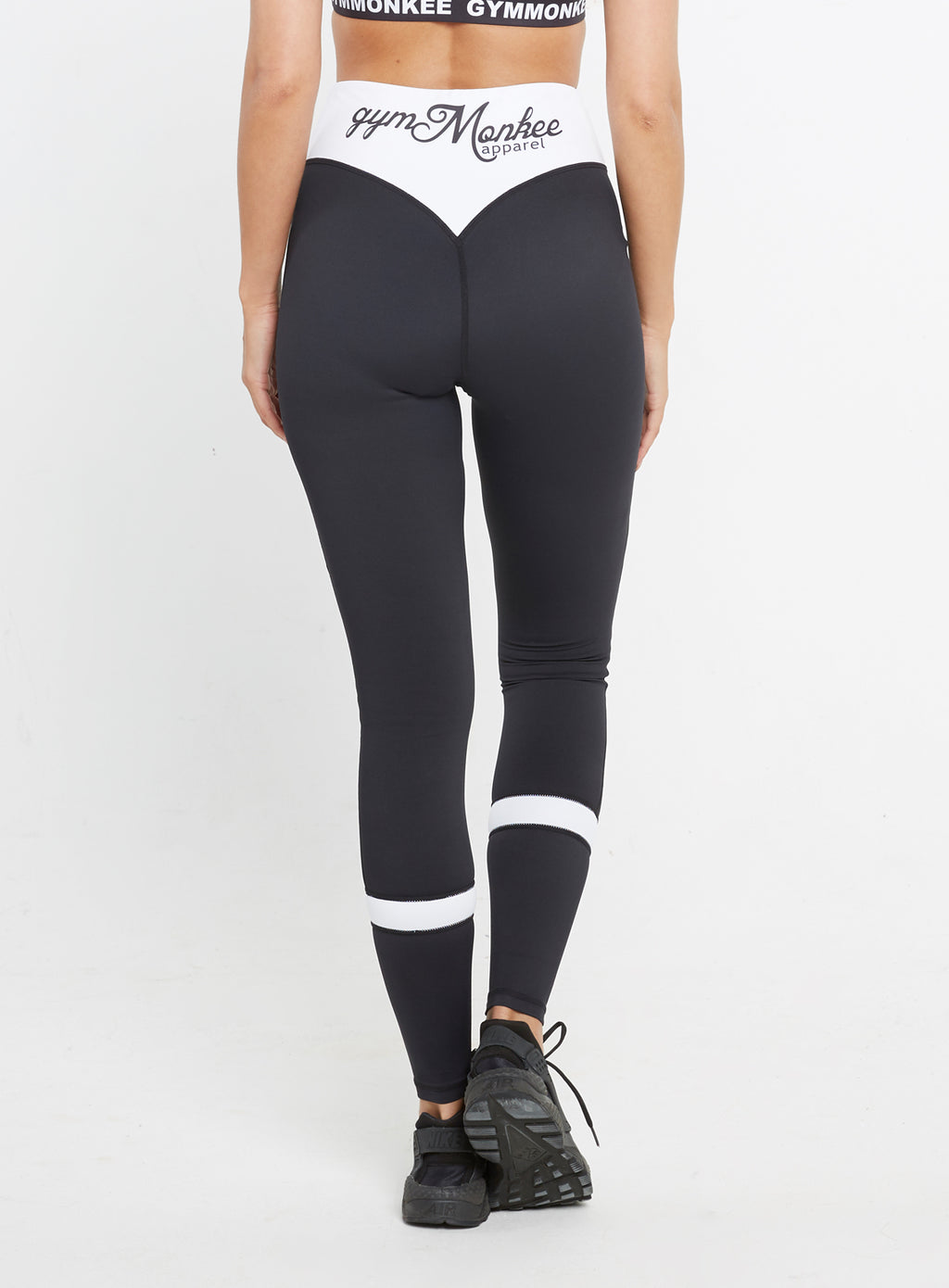 Gym  Monkee - Ladies Black and White Leggings REAR
