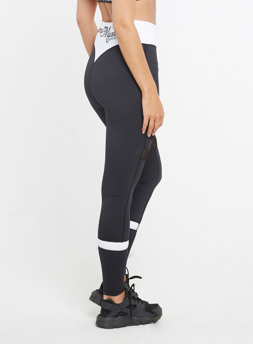 Gym  Monkee - Ladies Black and White Leggings RIGHT