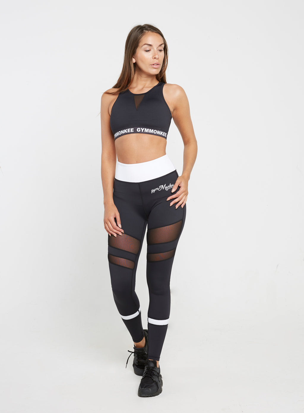 Gym  Monkee - Ladies Black and White Leggings FRONT FULL