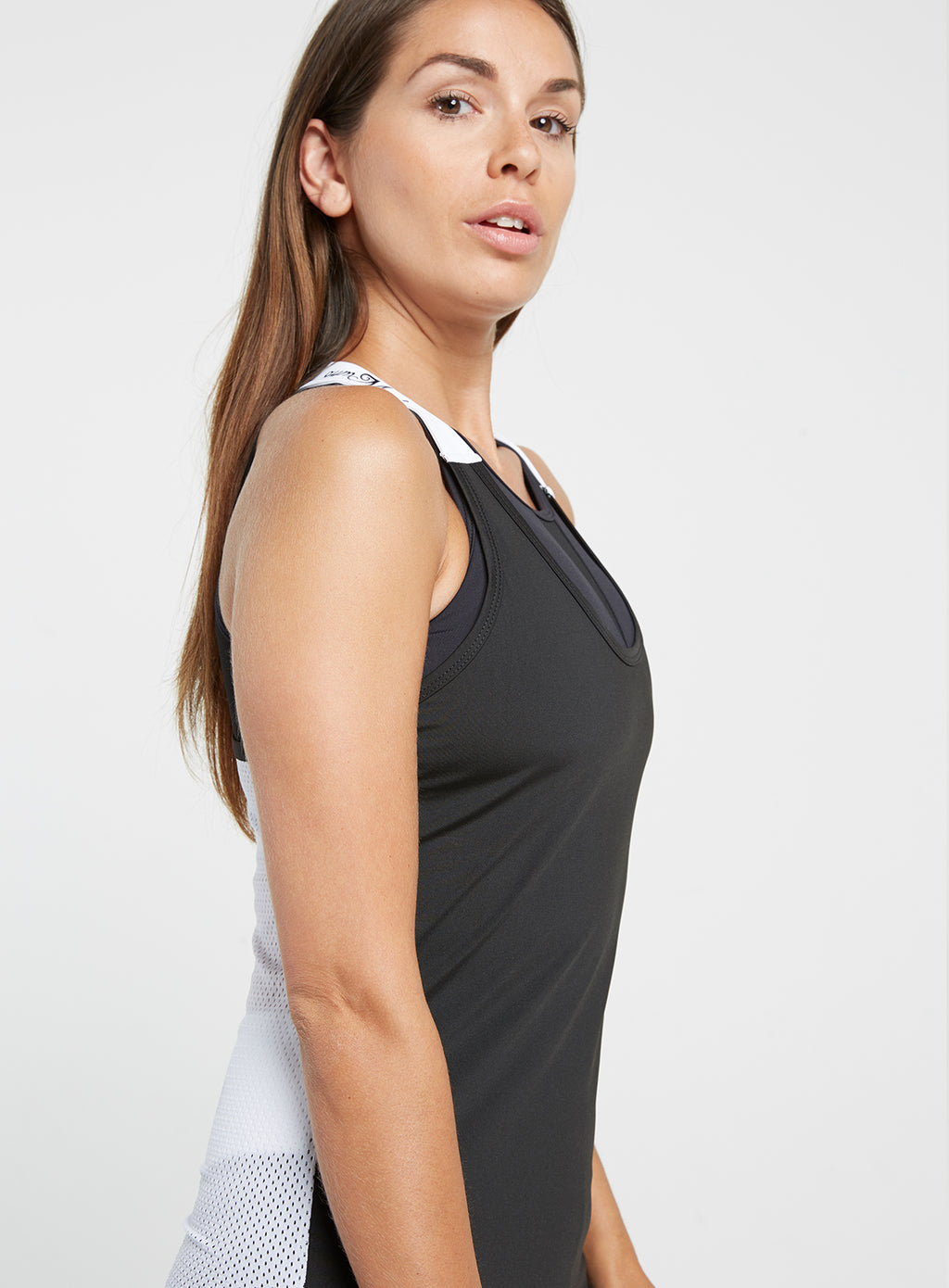 Gym Monkee - Ladies Black and White Strap Top RIGHT