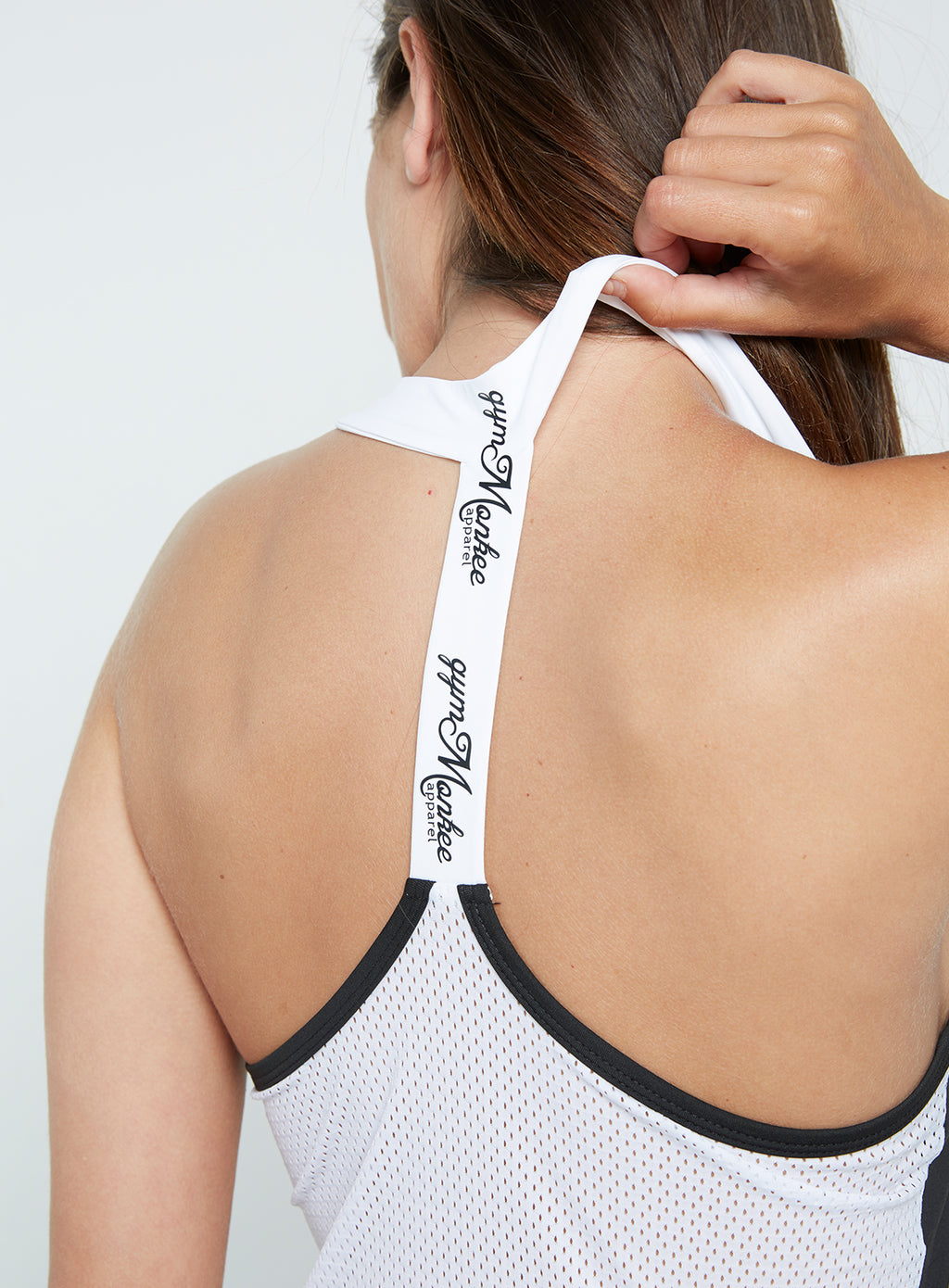Gym Monkee - Ladies Black and White Strap Top SHOULDERS