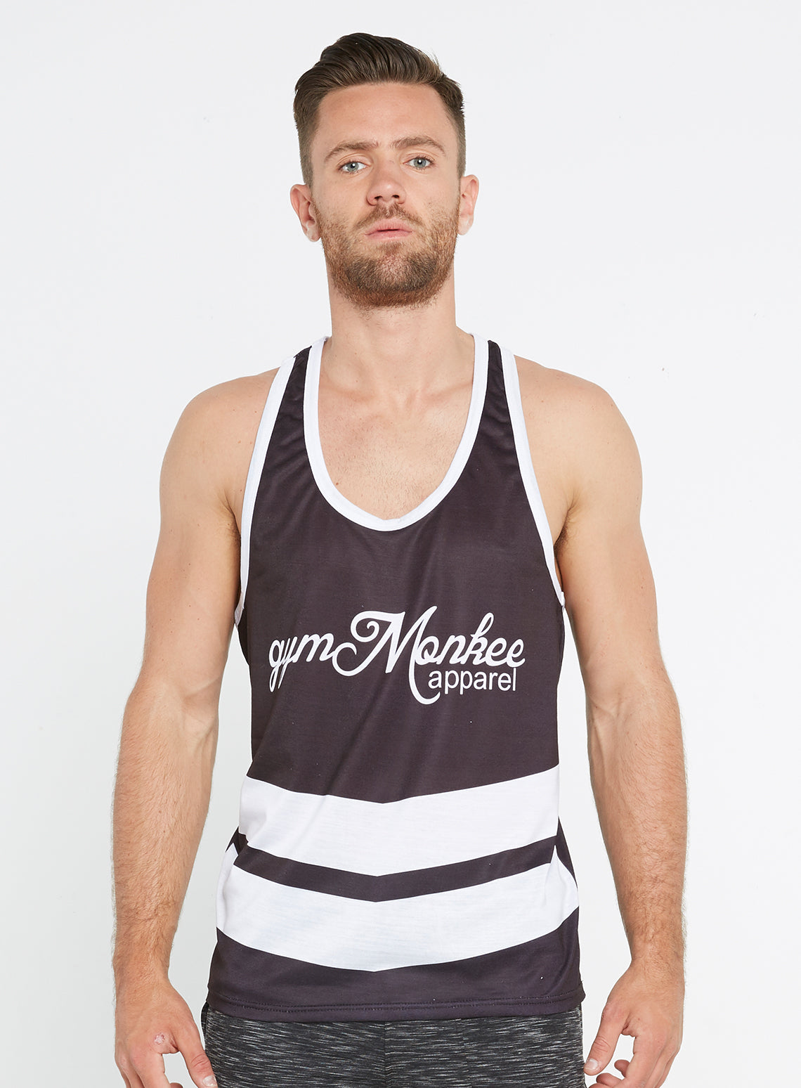 efc028877db3b Gym Monkee - Black and White Sublimated Vest FRONT