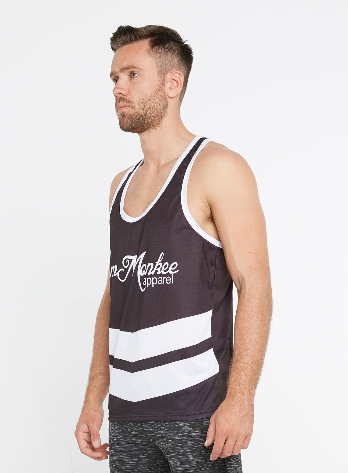 f9aa9d125e431 Gym Monkee - Black and White Sublimated Vest LEFT