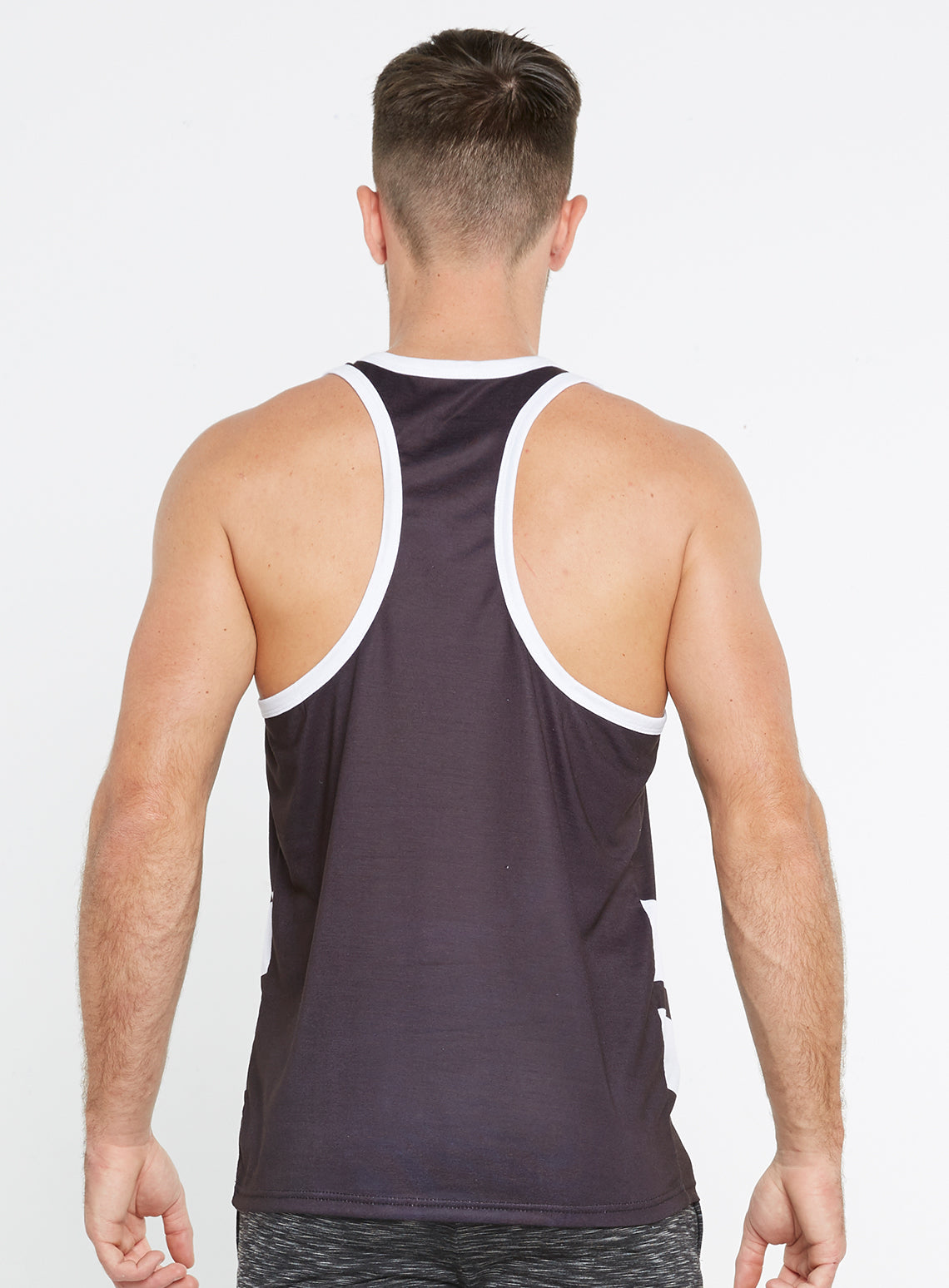 11b7e269817ac Gym Monkee - Black and White Sublimated Vest REAR