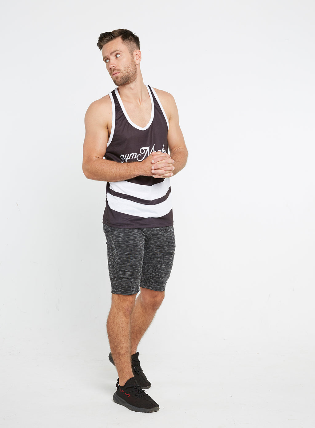 Gym Monkee -  Black and White Sublimated Vest MOVING