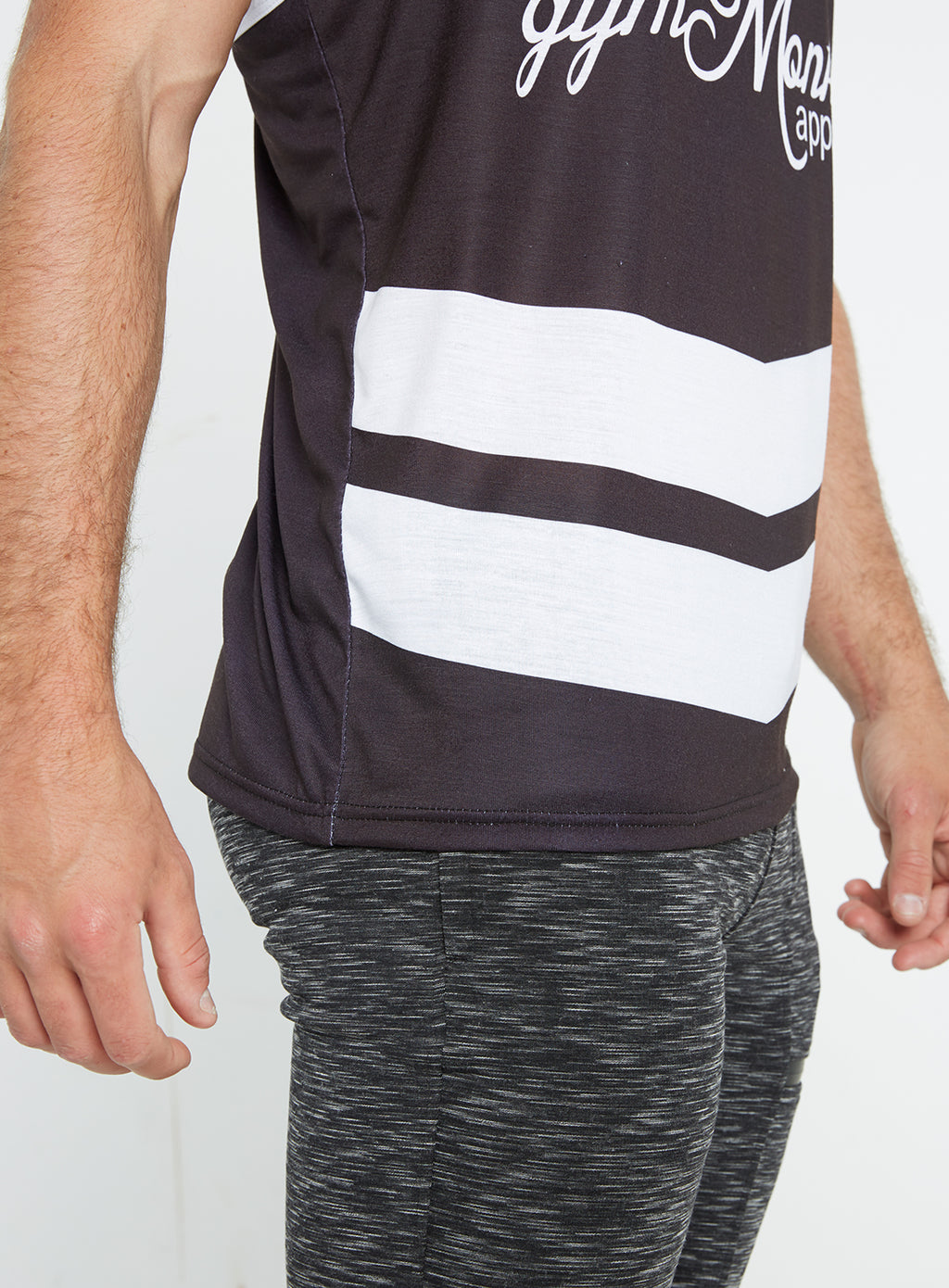 Gym Monkee -  Black and White Sublimated Vest CLOSEUP