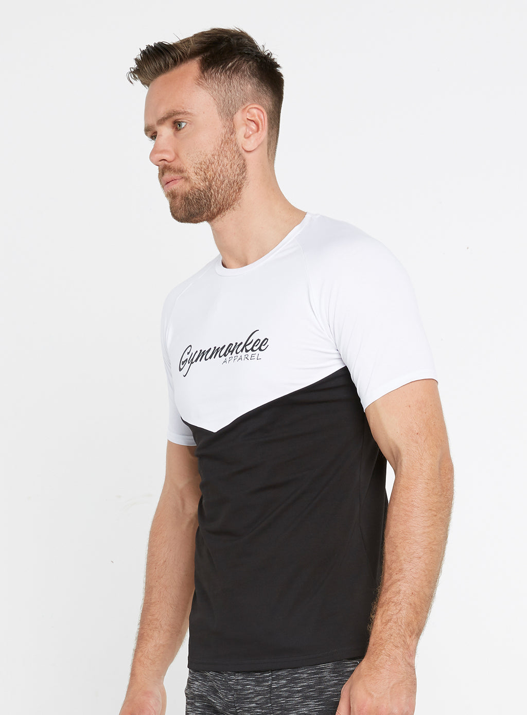 Gym Monkee - Black and White Tee LEFT