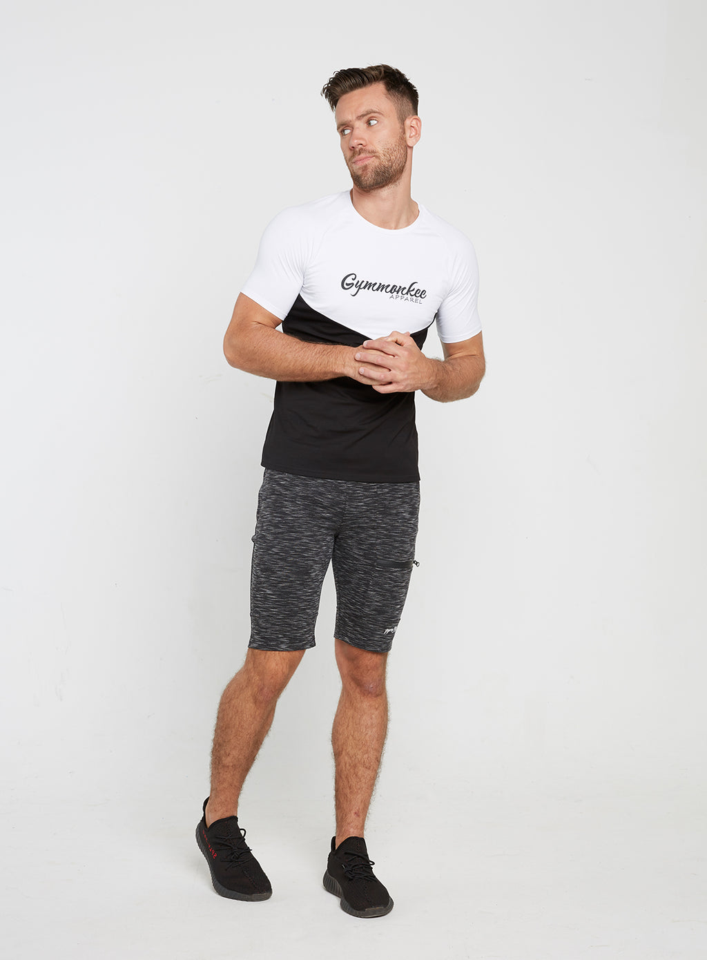 Gym Monkee - Black and White Tee FRONT MOVING