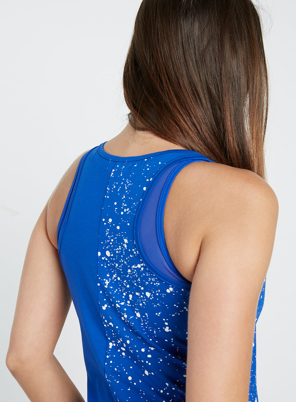 Gym Monkee - Ladies Blue Speckled Tank REAR RIGHT