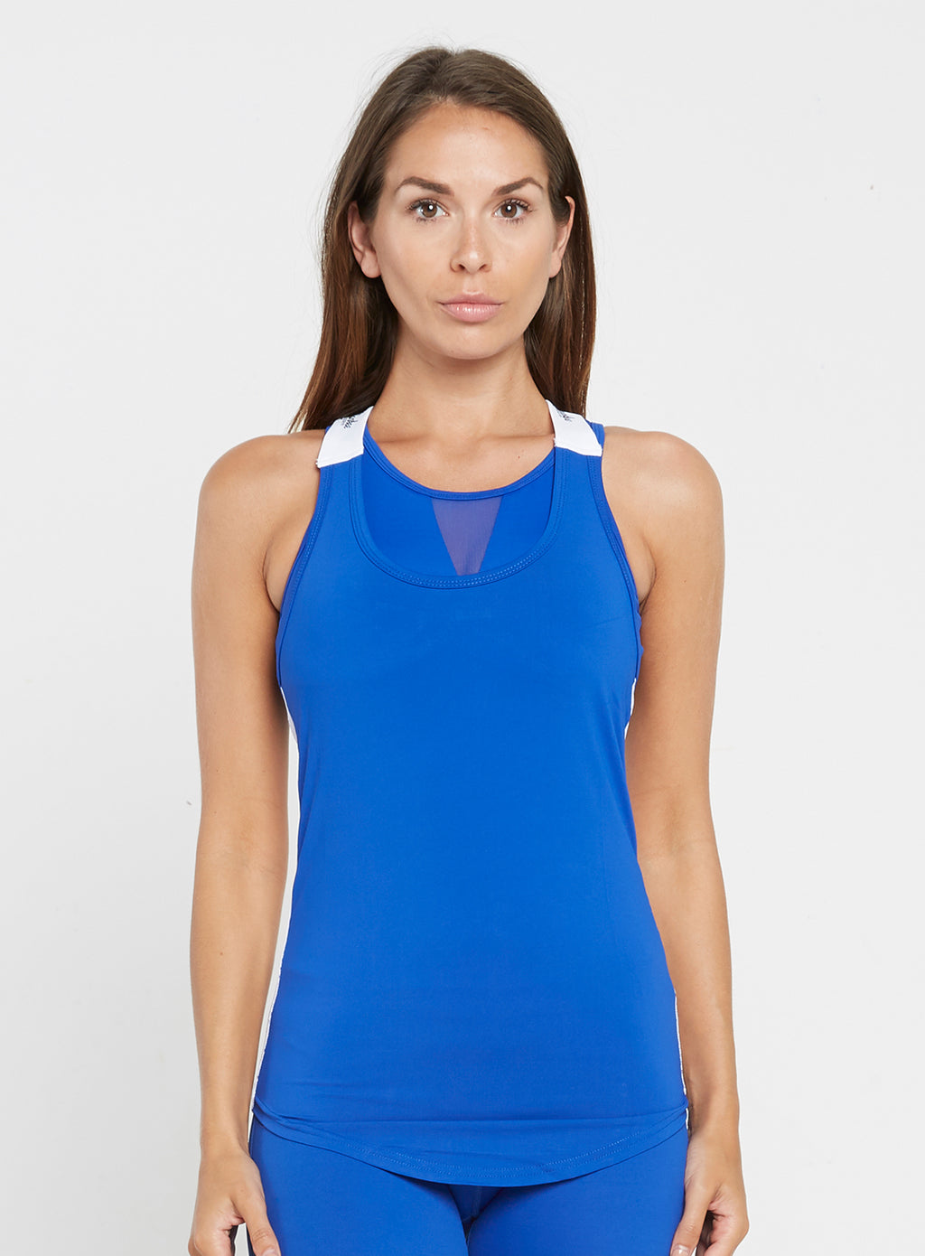 Gym Monkee - Ladies Blue and White Strap Top FRONT