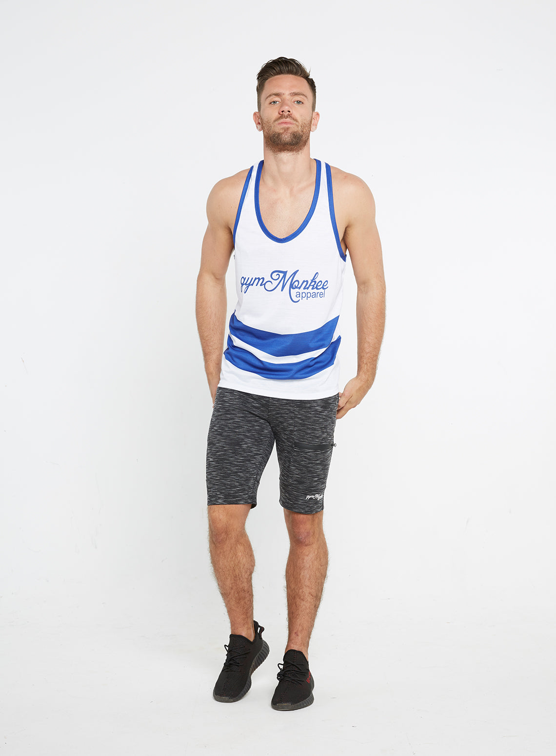 477267f6c10b4 Gym Monkee - Blue and White Sublimated Vest MOVING