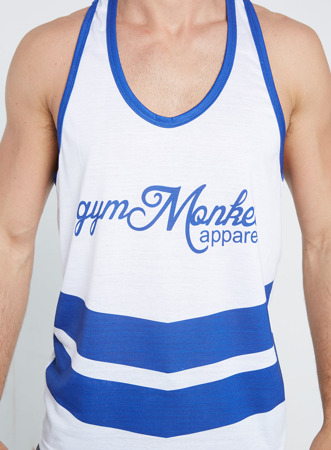 967560646af66 Gym Monkee - Blue and White Sublimated Vest CHEST