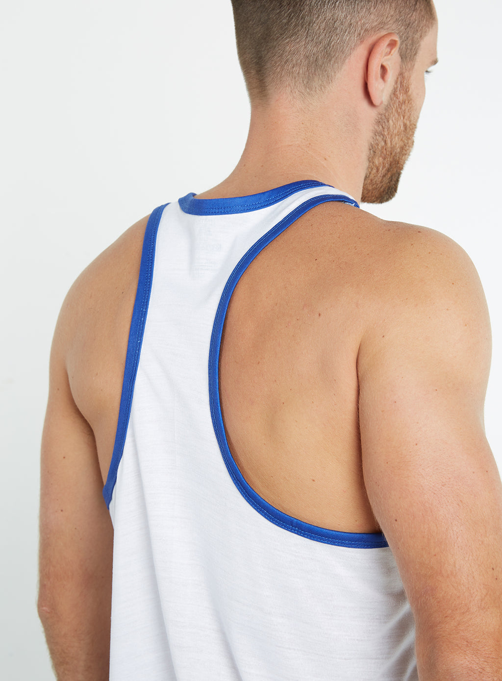 Gym Monkee - Blue and White Sublimated Vest SHOULDERS