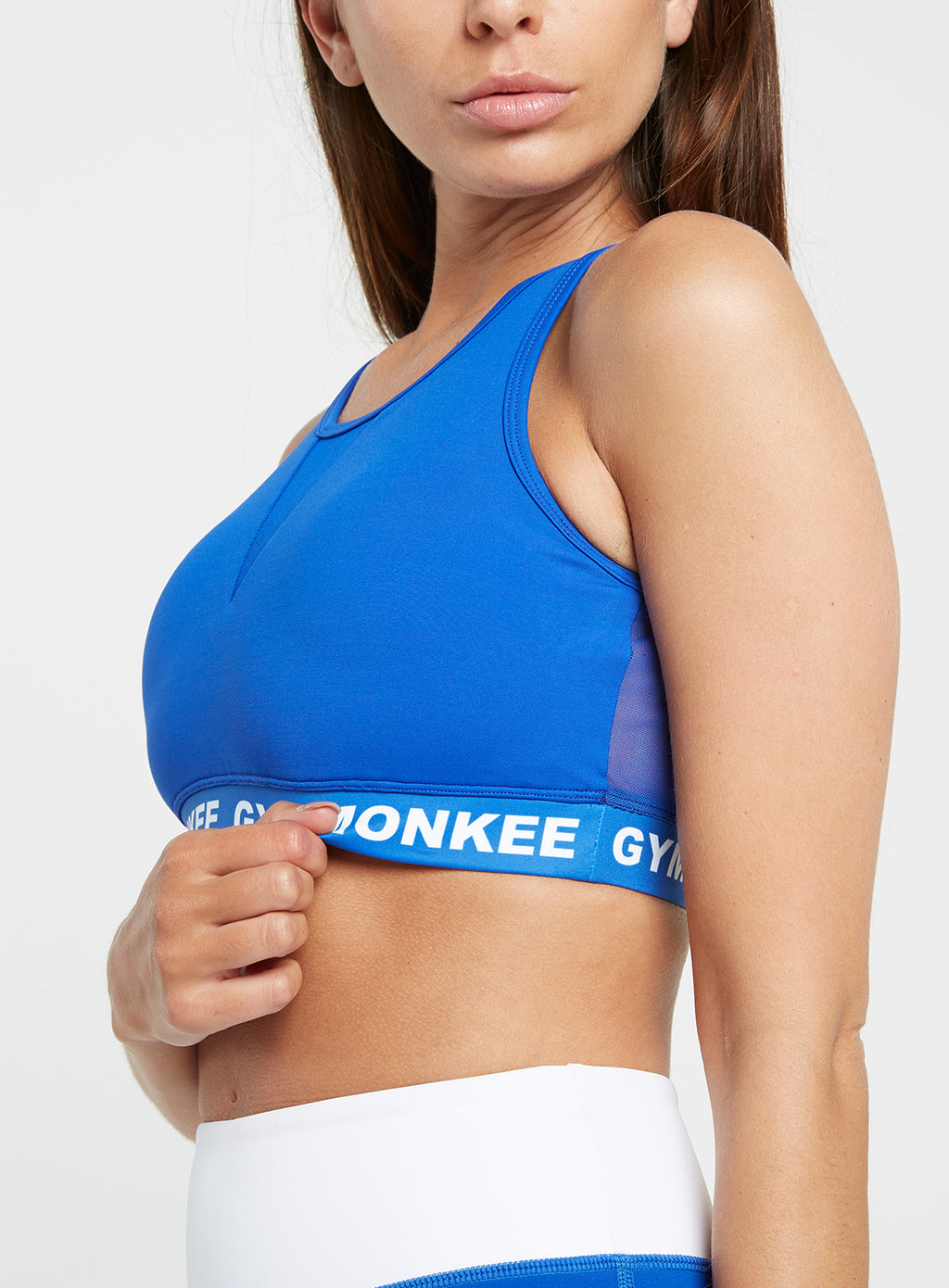 Gym Monkee - Blue Sports Bra FRONT LEFT