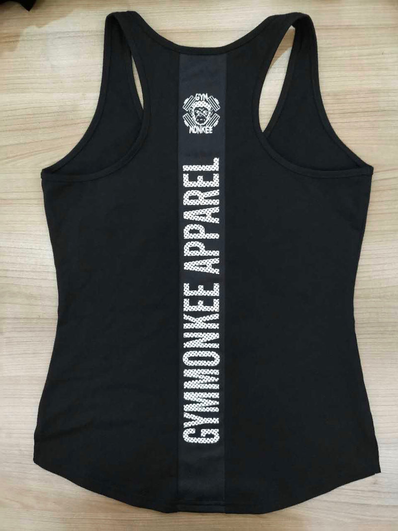 Gym Monkee - Ladies Black Striped Tank BACK