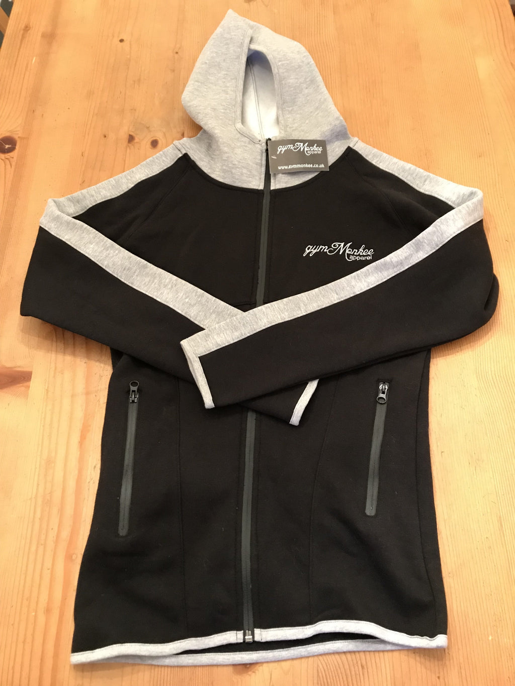 Gym Monkee - Black & Grey Zipped Hoodie