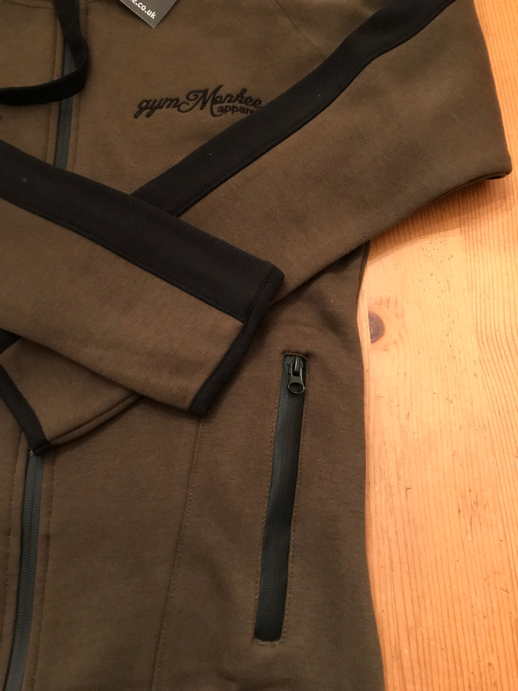 Gym Monkee - Khaki Zipped Hoodie Close Up