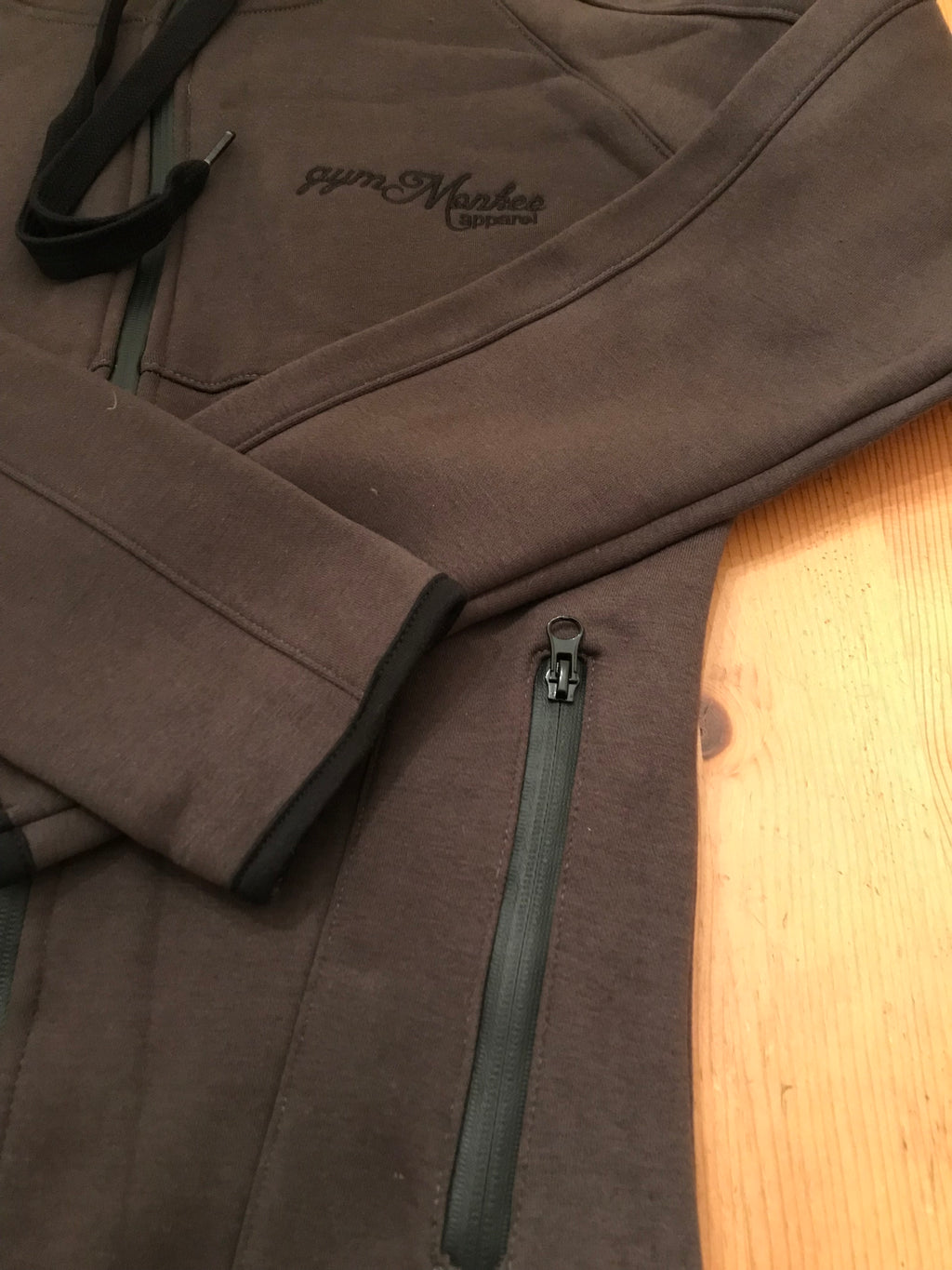 Gym Monkee - Charcoal Zipped Hoodie Pockets