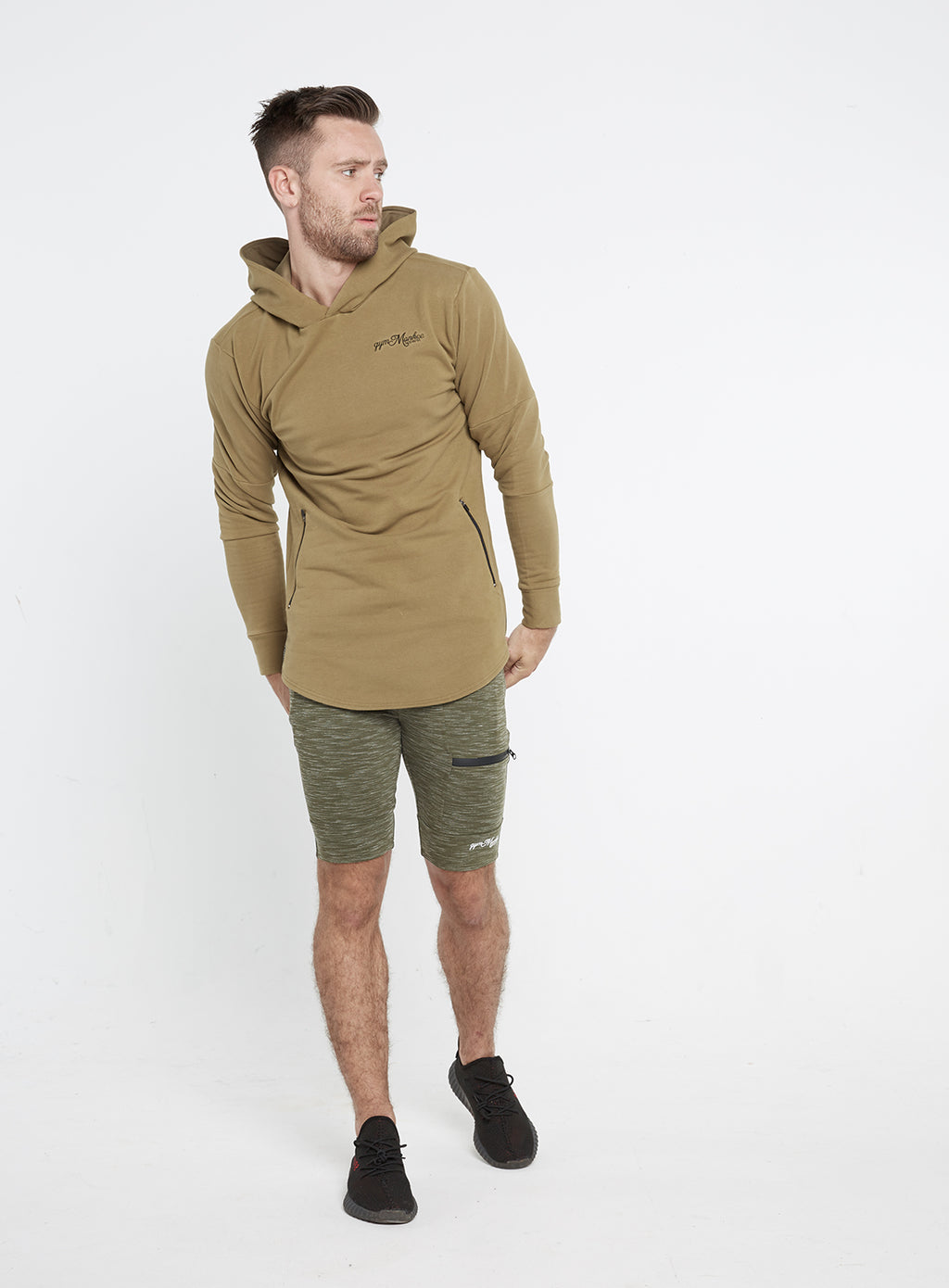 Gym Monkee - Khaki Hoodie FRONT FULL