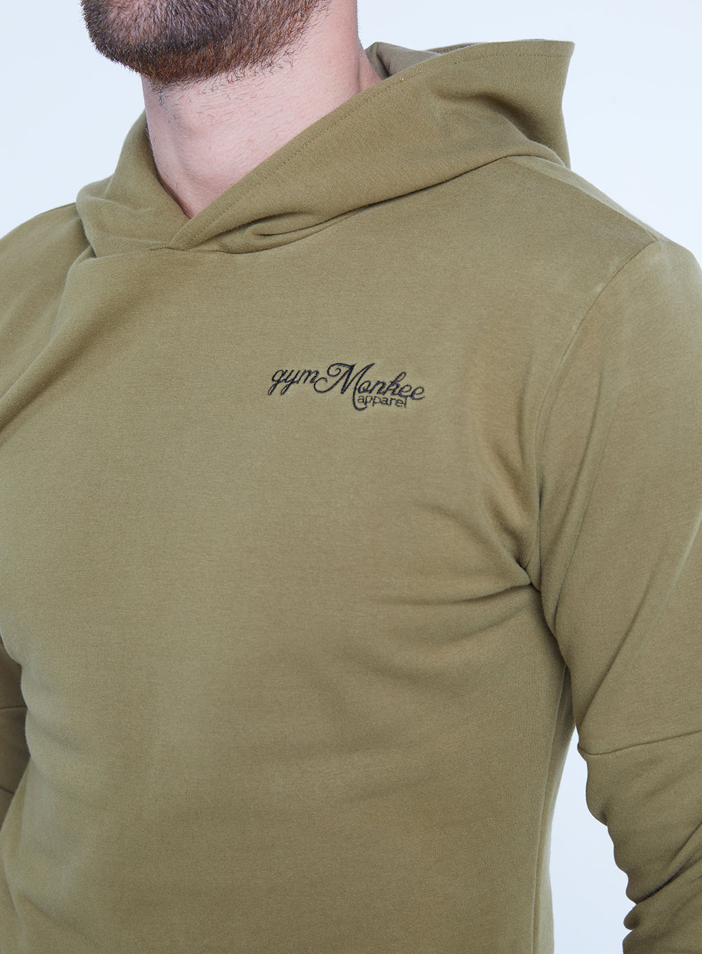 Gym Monkee - Khaki Hoodie FRONT CHEST