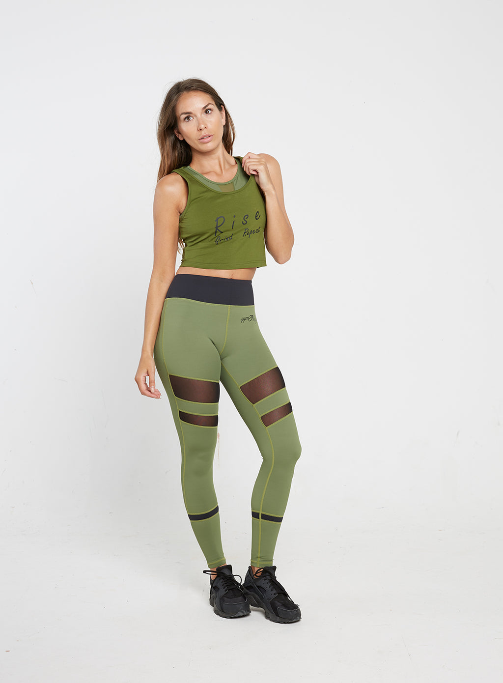Gym Monkee - Ladies Khaki Slogan Crop FRONT FULL