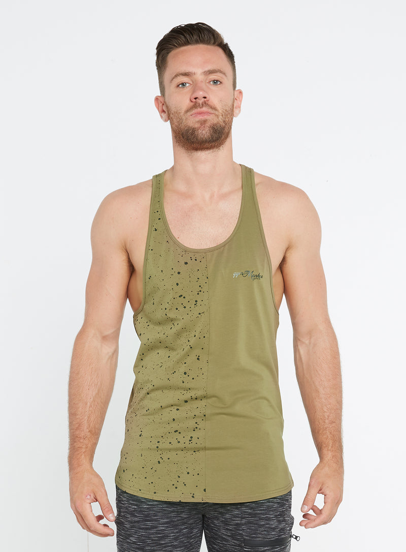 Gym Monkee - Olive Speckled Vest FRONT