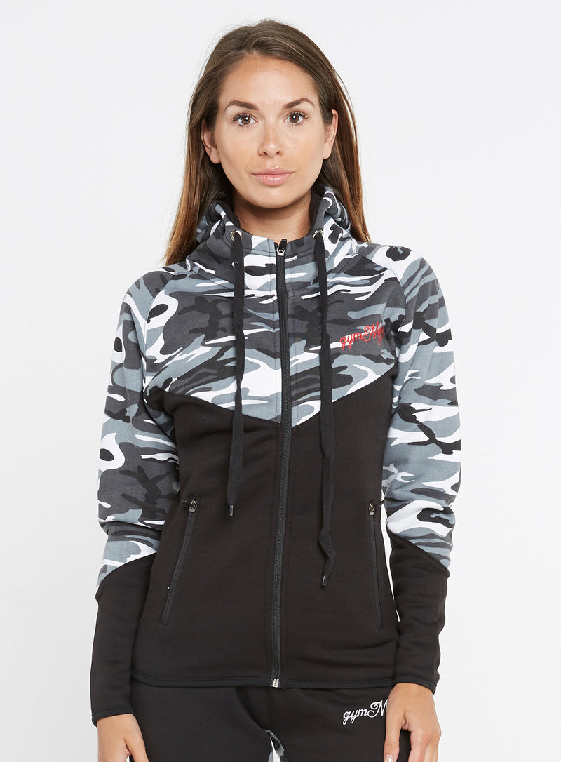 Gym Monkee - Ladies Black and Camo Hoodie FRONT