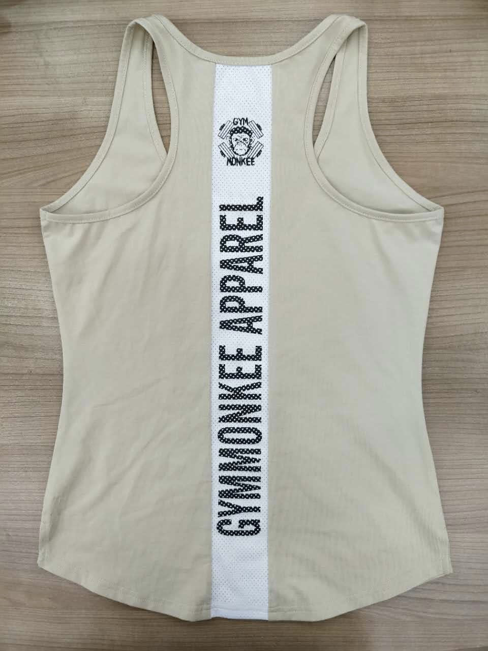Gym Monkee - Ladies Beige Striped Tank BACK