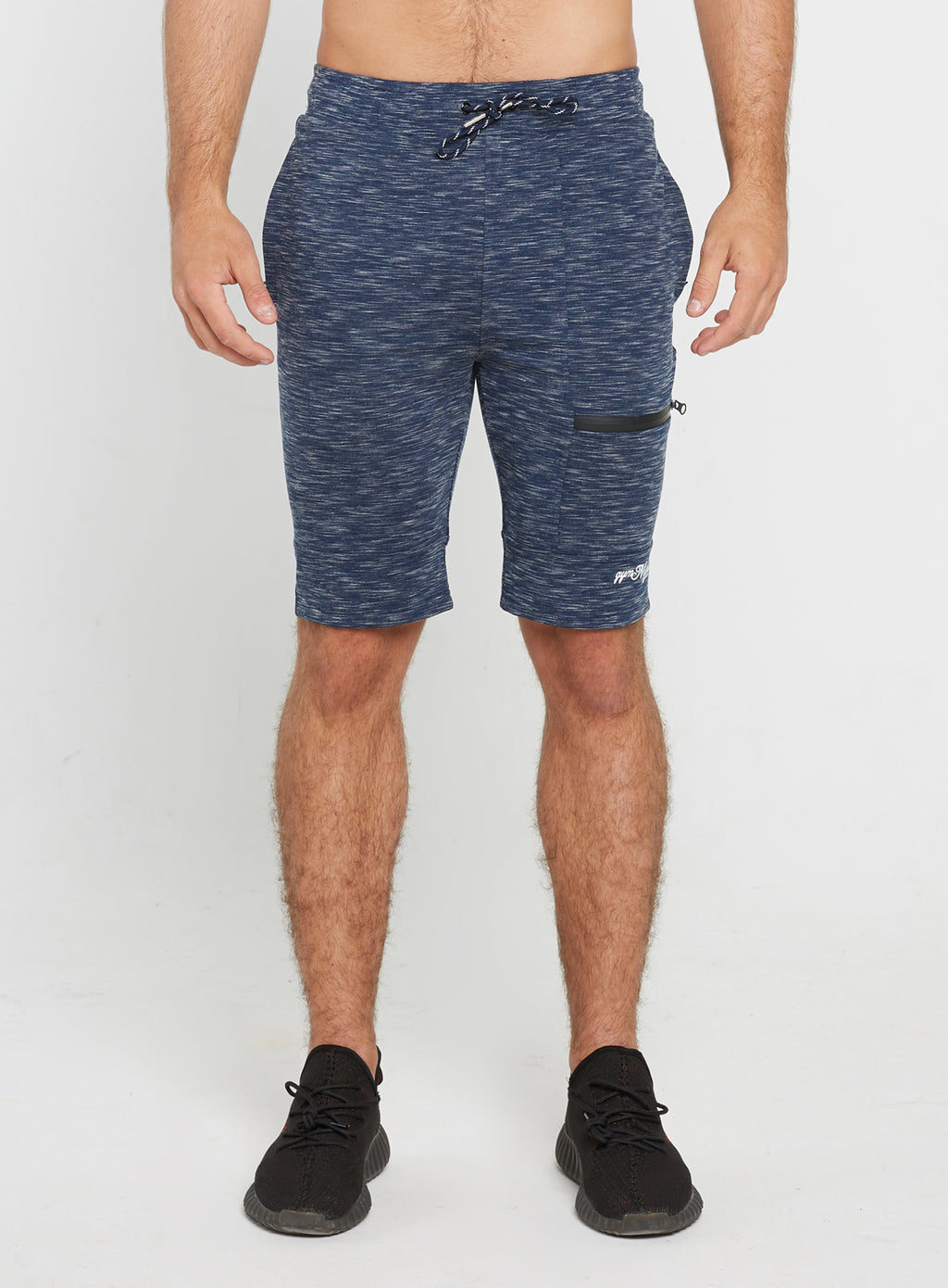 Gym Monkee - Navy Striped Shorts FRONT