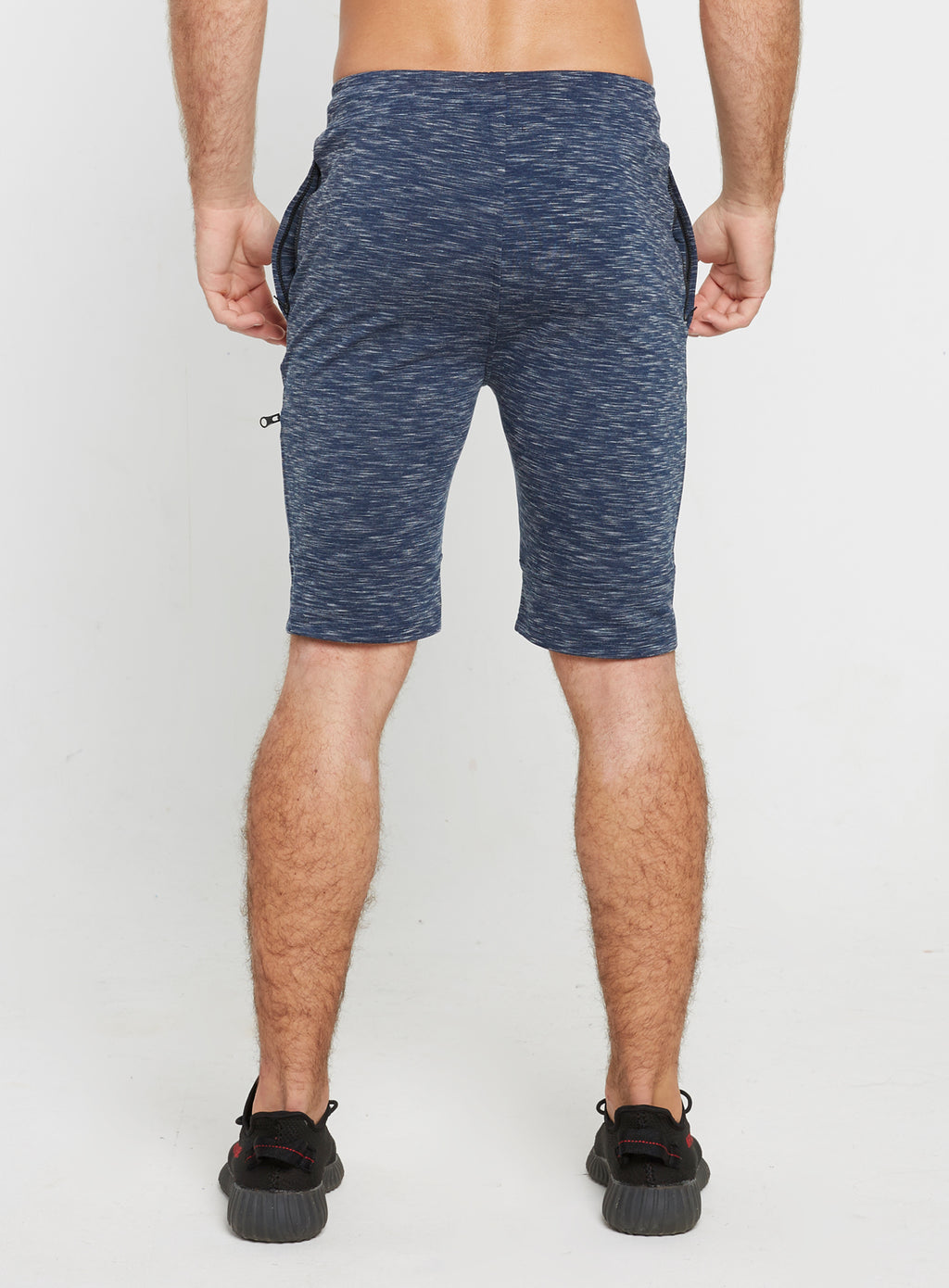 Gym Monkee - Navy Striped Shorts REAR