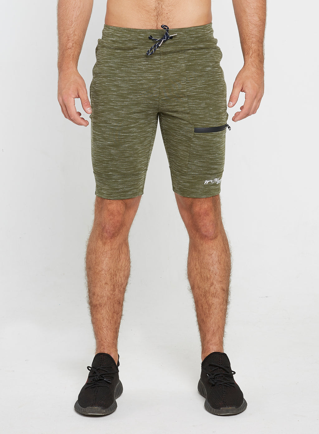 Gym Monkee - Olive Striped Shorts FRONT