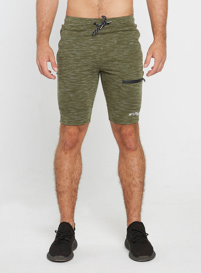 Olive Striped Shorts