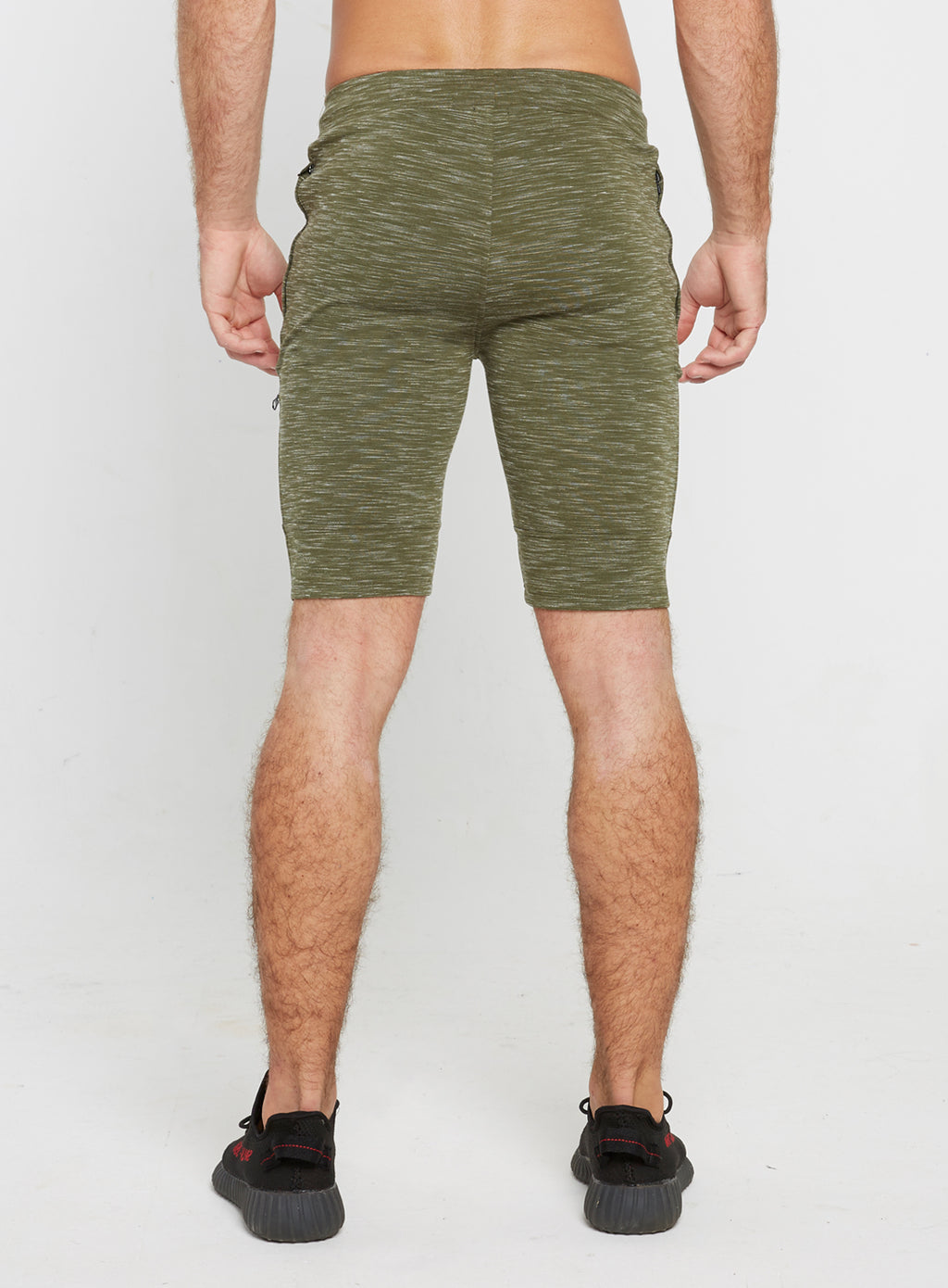 Gym Monkee - Olive Striped Shorts REAR