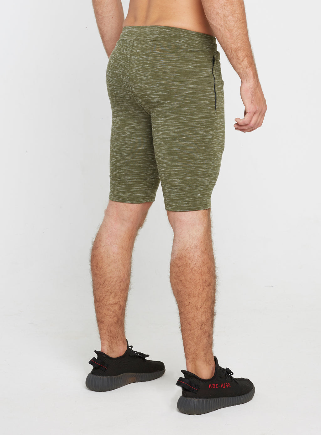 Gym Monkee - Olive Striped Shorts RIGHT