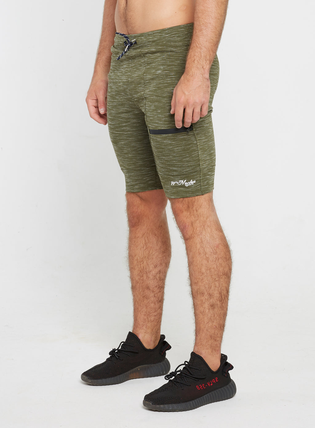 Gym Monkee - Olive Striped Shorts LEFT
