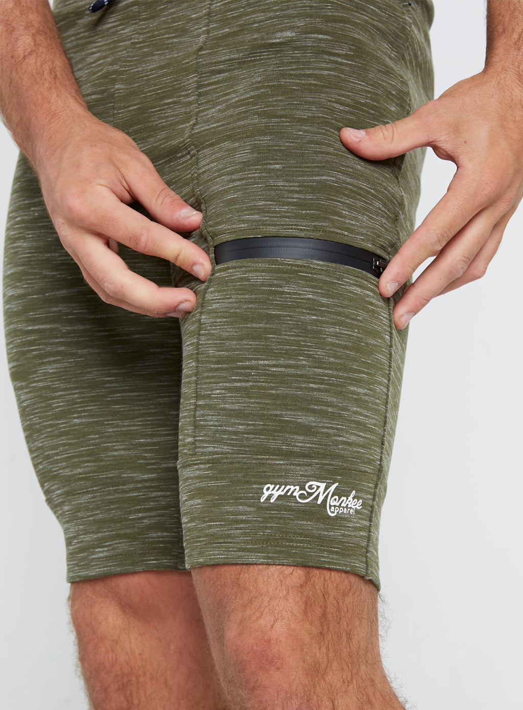 Gym Monkee - Olive Striped Shorts ZIPPED POCKETS