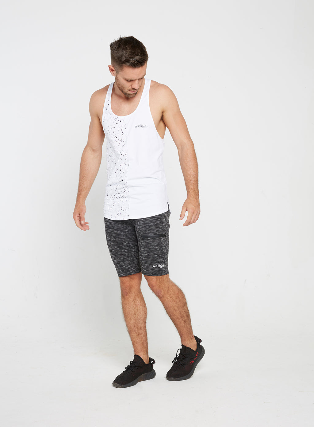 Gym Monkee - White Speckled Vest FRONT MOVING