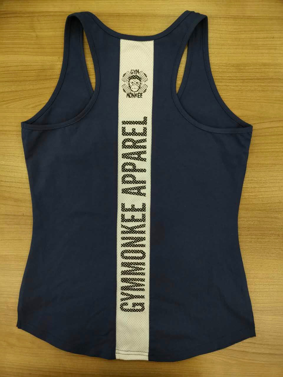 Gym Monkee - Ladies Navy Striped Tank BACK